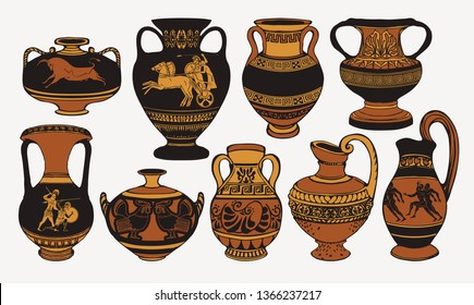 Set of antique Greek amphorae, vases with patterns, decorations and life scenes. Ancient decorative pots isolated on white background, old clay jugs, ceramic pottery. Vector illustration