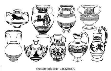 Set of antique Greek amphorae, vases with patterns, decorations and life scenes. Ancient decorative pots, old clay jugs, ceramic pottery. Vector black and white illustration, coloring book.