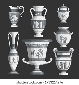Set of antique Greek white amphoras, vases with patterns, decorations and life scenes. Ancient decorative pots isolated, old clay jugs, ceramic pottery. Vector illustration