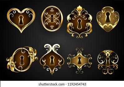Set of antique, jewelry, keyholes on black background.