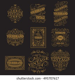 Set of antique labels, vintage frame design, typography, retro logo template, vector illustration