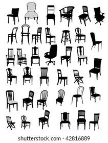 set of antique and modern furniture vector illustration