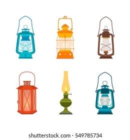 Set antique oil lanterns. Vector illustration.