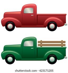 Set of antique pickup trucks