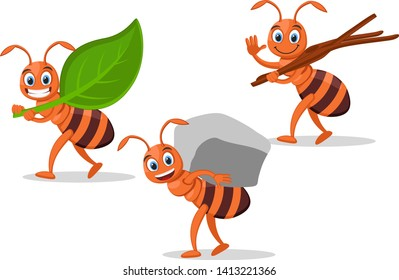 Set ants carry leaf, stone and tree branches on a white.