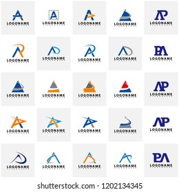 Set of AP Letter Logo Design with Creative Modern Trendy Typography, AR Letter Logo vector.