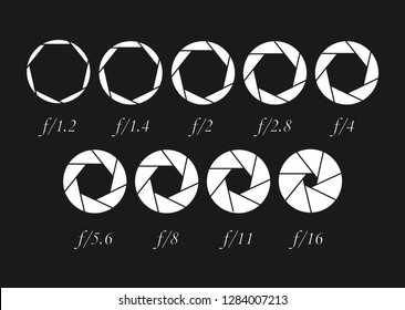 A set of apertures for the lens of the camera of different sizes. Diaphragm lens.