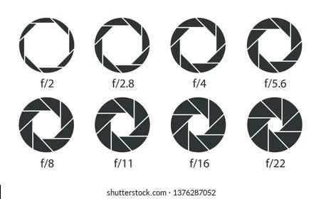 Set of apertures for the lens diaphragm. Camera shutter apertures icons.