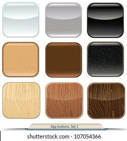 Set of app buttons with glossy, wood, and leather texture