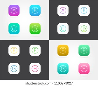 Set of App Icon Templates with Guidelines. Vector Fresh Colour.