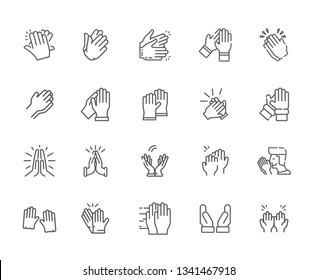 Set of applause icon Related Vector Line Icons. Includes such Icons as applause, approval, joy, praise, cool, sound, signal, clap, song