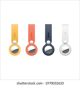 Set of Apple Airtags, Vector illustration of a yellow, orange, blue and white key ring, lost and found devise, NFC tracker, chip, track and trace