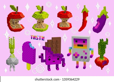 A set of apple cores Icons. Taste of food in the digital world. Knowledge of things. Pixel art game style. Isometric 3d cubes. Pink chocolate character. Garlic and aubergine,beet and ice cream vector