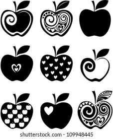 set of  apple icon isolated on white background. Vector illustration