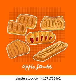 set of apple strudel bread vector illustrations