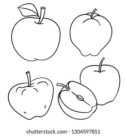 Set of Apples isolated on white background, ink hand drawn style, for coloring book, education and food concepts. Vector Illustration