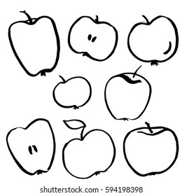 set of apples, sliced apple, free hand drawn