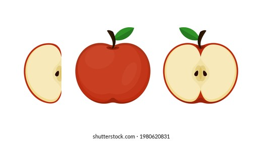 Set of apples and sliced apples (whole, half, slice) isolated on white background with flat and cartoon style.