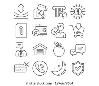 Set of Approve, Cashback and Support service icons. Attachment, Credit card and Resilience signs. Shopping, Parking garage and Parking security symbols. Vector