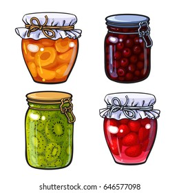 Set of apricot, cherry, strawberry and kiwi jam, marmalade in traditional jars, sketch style vector illustration isolated on white background. Hand drawn, realistic grandma berry, fruit jam in jars