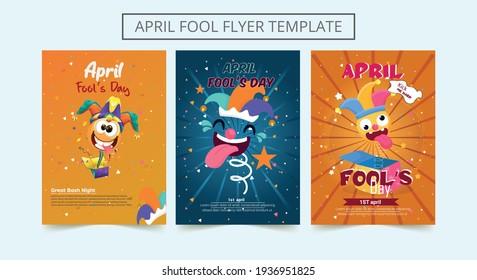Set of April fool's day flyer template. Decorative set of backgrounds for April fool's day with bomb explosive. Vector illustration.