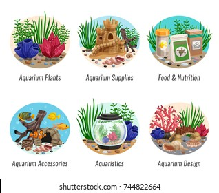 Set of aquarium compositions with colorful plants, fishes, food, shells and caves, design elements isolated vector illustration