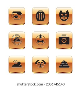 Set Aquarium with fish, Clockwork mouse, Dog, collar, No shit, Cat, Shit and Pet carry case icon. Vector