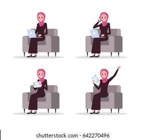 Set of Arab business woman using smart device on sofa. flat character design. vector illustration