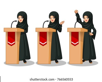Set of Arab businesswoman in black dress cartoon character design politician orator public speaker giving a talk speech presentation standing behind rostrum podium, isolated against white background.