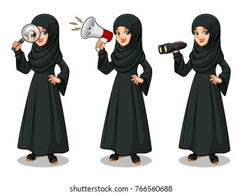 Set of Arab businesswoman in black dress cartoon character design, looking through binoculars, holding magnifying glass, and talking yelling shouting announcement with megaphone, isolated against whit