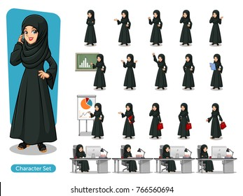 Set of Arab businesswoman in black dress cartoon character design with different poses, isolated against white background.