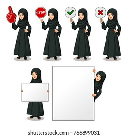 Set of Arab businesswoman in black dress holding a blank empty sign board banner billboard card poster, number one big foam hand finger, stop, right correct yes and wrong no signs.