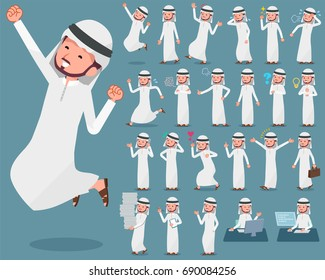 A set of Arab man  with who express various emotions. There are actions related to workplaces and personal computers. It's vector art so it's easy to edit.