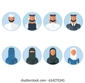 Set of arab men and arab women in traditional Muslim clothing. Flat vector cartoon illustration. Objects isolated on a white background.