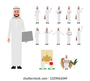 Set of Arab Muslim man in lifestyle daily. Business people in job. Daily routine activity.