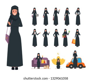Set of Arab Muslim woman in lifestyle daily. Business people in job. Daily routine activity.