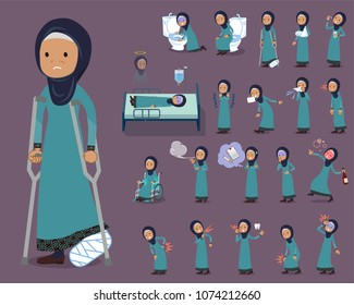 A set of arab old women with injury and illness. There are actions that express dependence and death. It's vector art so it's easy to edit.
