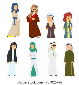 set of Arab people in national costumes isolated on white background. vector illustration.
