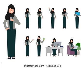 Set of arab uae woman in different pose. Business woman in job routine.