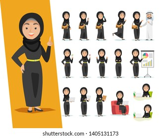 Set of Arab woman character design with a different poses on a white background.