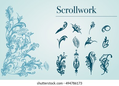 set of arabesques scrollwork flowers and plants illustration