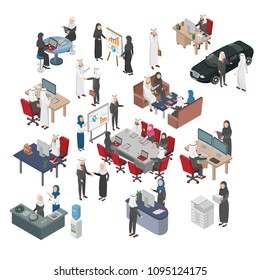 Set of Arabian Bussiness People, Office, Teamwork, Transactions, Negotiation. on Flat Isometric Vector