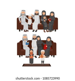 Set of Arabian Family Sitting Together on Sofa, Family Time, Grandparents, Parents and Childs. Vector Flat Illustration