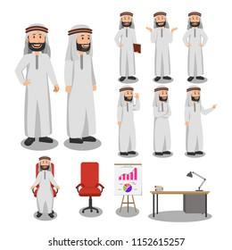 Set of Arabian Man Character Cartoon Illustration