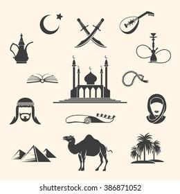 Set of Arabian or Middle East black icons. Vector illustration