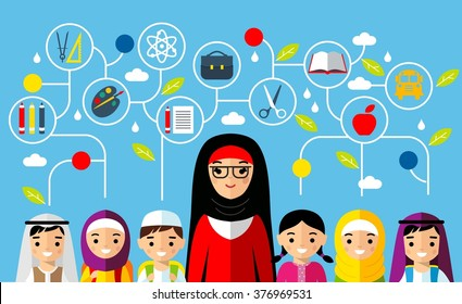 Set of arabian pupil with teacher in national clothes and education icons. Vector illustration of arabic education concept.