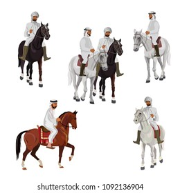 Set of arabian riders in traditional dress. Vector illustration isolated on white background