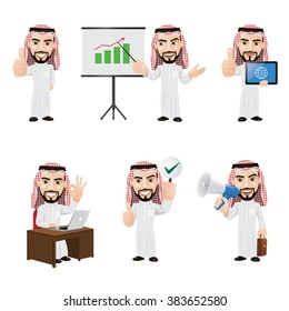 Set of Arabic Businessman Character in 6 Different Poses