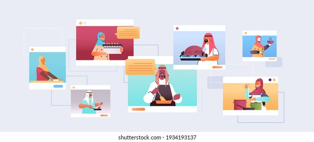 set arabic food bloggers preparing dishes arab chefs in web browser windows online cooking class concept portrait horizontal vector illustration