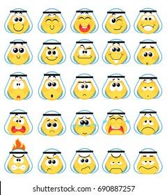 Set of Arabic khaliji  Emoticons Smile icons , Isolated vector illustration